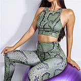 Спортивний костюм жіночий для фітнесу. Комплект лосини і топ для йоги, спорту, тренувань, розмір M (зелений), фото 2
