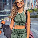Спортивний костюм жіночий для фітнесу. Комплект лосини і топ для йоги, спорту, тренувань, розмір M (зелений), фото 7