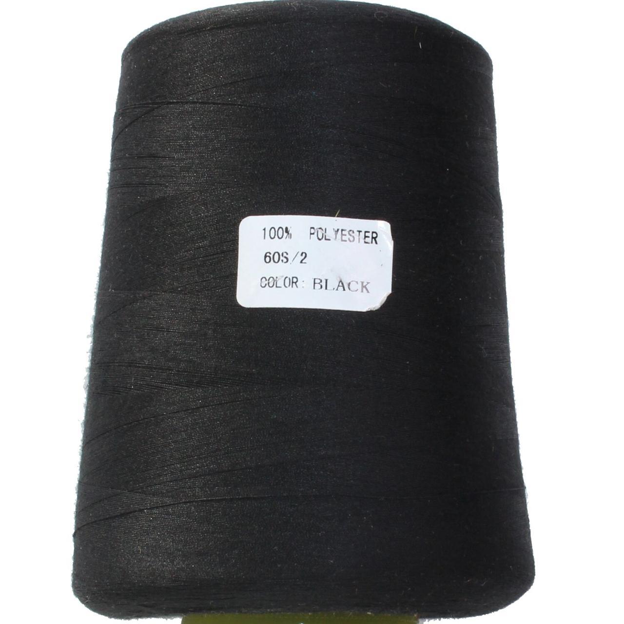 Нитка поліестер 60S/2, нижня, колір black, Козачок-ТМ