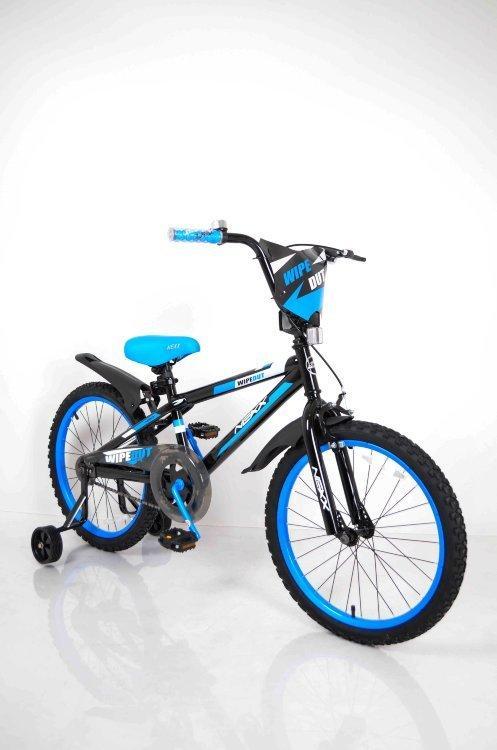 Дитячий Американський Велосипед для хлопчика від 8 років синій NEXX BOY-20 Blue з бічними колесами