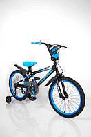 Детский Американский  Велосипед для мальчика от 8 лет синий NEXX BOY-20 Blue с боковыми колесами