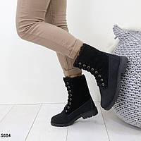 Женские  зимние высокие ботинки на шнуровке, А 5884, фото 1