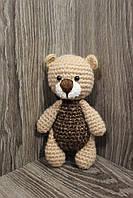 Мягкая вязаная  игрушка ручной работы Медвежонок 15*9 см для детей