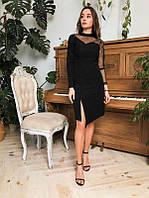 Черное вечернее платье с сеткой на рукаве