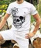 Мужская летняя футболка с черепом белая
