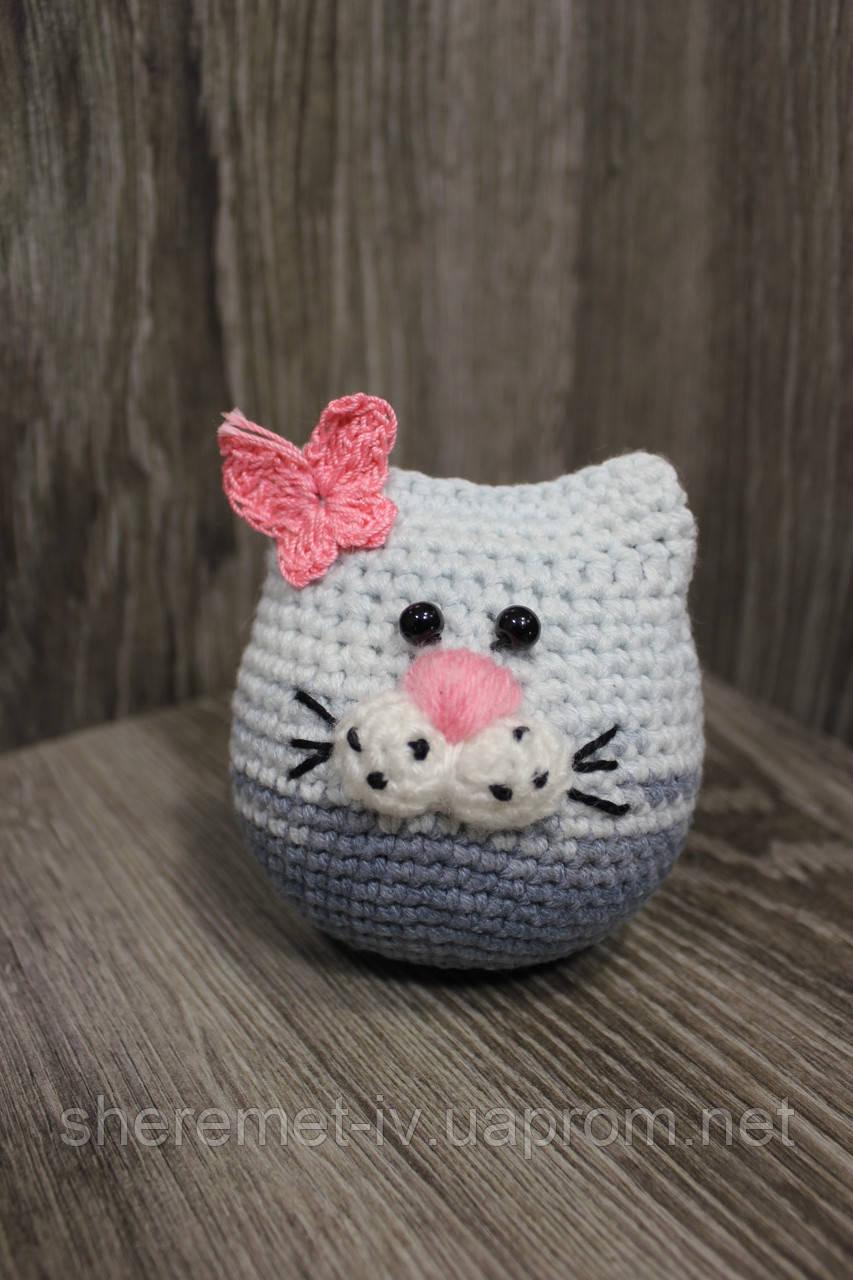 Мягкая вязаная  игрушка ручной работы Котёнок смешарик 8*8 см для детей