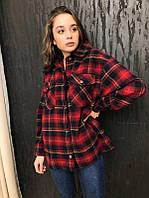 Женская теплая рубашка в красную клетку
