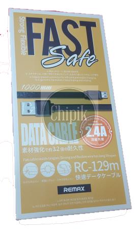 Дата кабель micro-USB Remax RC-129m, 1m, 2,4 А, чорний