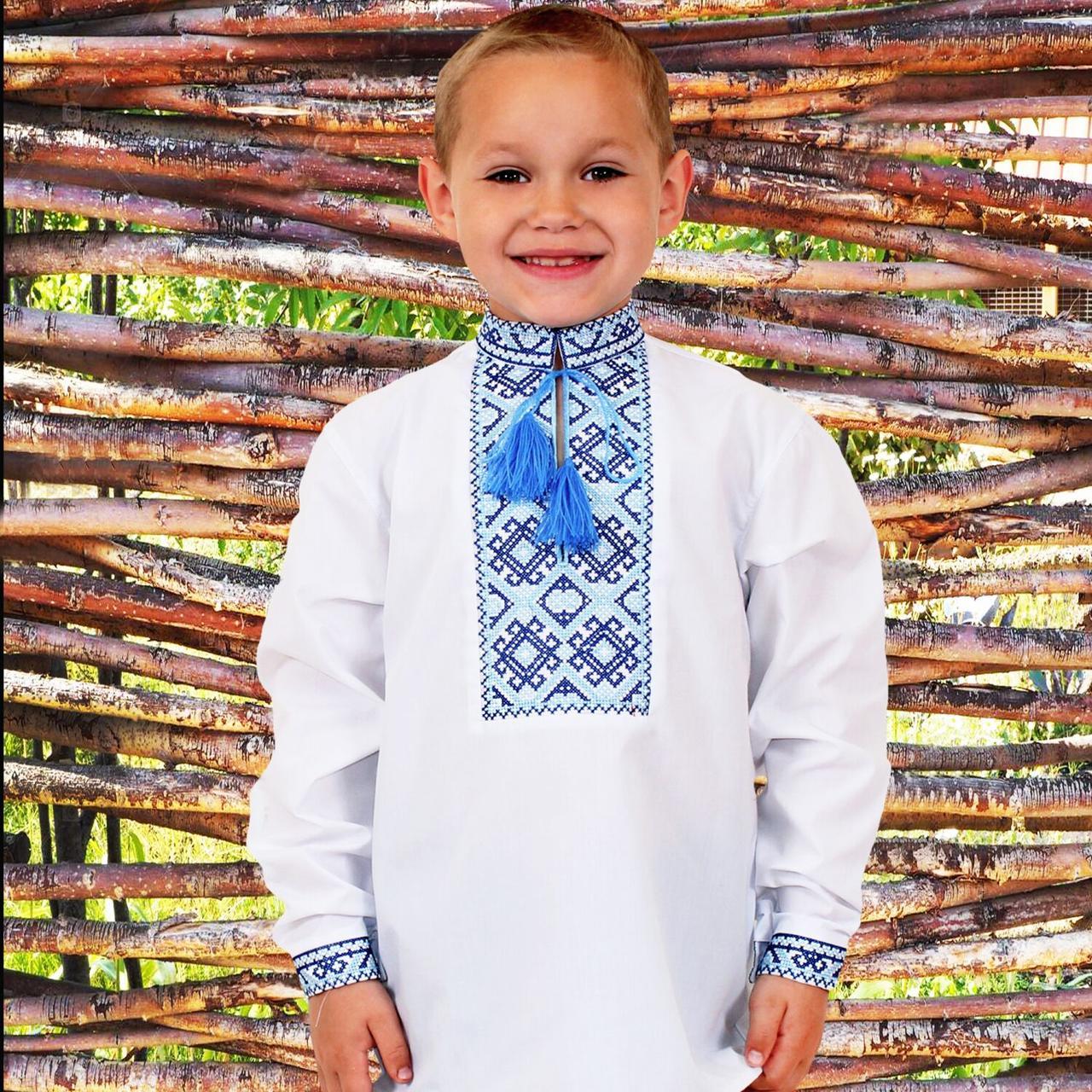 """Вышиванка детская для мальчика """"Грицько"""" с Синей вышивкой, 122 (рост)"""
