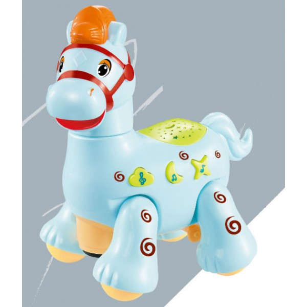 Игрушка Электронная Музыкальная Лед лампа Мультяшная лошадка D Jin Shang Lu синяя