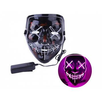 Неоновая маска Purge Mask Судная ночь Розовая