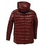 Демисезонная женская куртка с накладным карманом, модель Юлия, бордовый лак, размеры 48 - 54, фото 6