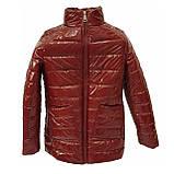 Демисезонная женская куртка с накладным карманом, модель Юлия, бордовый лак, размеры 48 - 54, фото 7