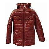 Демисезонная женская куртка с накладным карманом, модель Юлия, бордовый лак, размеры 48 - 54, фото 5