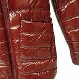 Демисезонная женская куртка с накладным карманом, модель Юлия, бордовый лак, размеры 48 - 54, фото 8