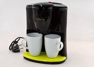 Капельная кофеварка на две чашки   Кофемашина Crownberg CB-1560 Черная (600 Вт), фото 2