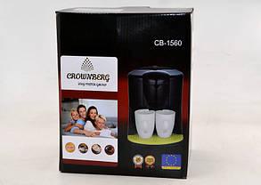 Капельная кофеварка на две чашки   Кофемашина Crownberg CB-1560 Черная (600 Вт), фото 3