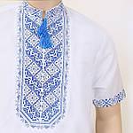 """Мужская вышиванка """"Николай"""" (сине-серая вышивка) с коротким рукавом, 39, фото 4"""
