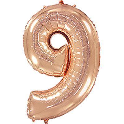 """Фольгированный шар цифра 9 40"""" металлик розовое золото"""