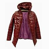 Демисезонная женская куртка с накладным карманом, модель Юлия, бордовый лак, размеры 48 - 54, фото 10