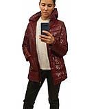 Демисезонная женская куртка с накладным карманом, модель Юлия, бордовый лак, размеры 48 - 54, фото 4