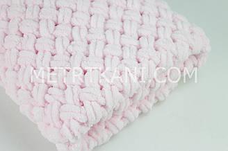 "В'язаний Плед ""Плюшевий"" рожевого кольору 90/80 см №56-45"