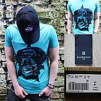 Мужская летняя футболка в стиле Givenchy с собакой бирюзовая, фото 1