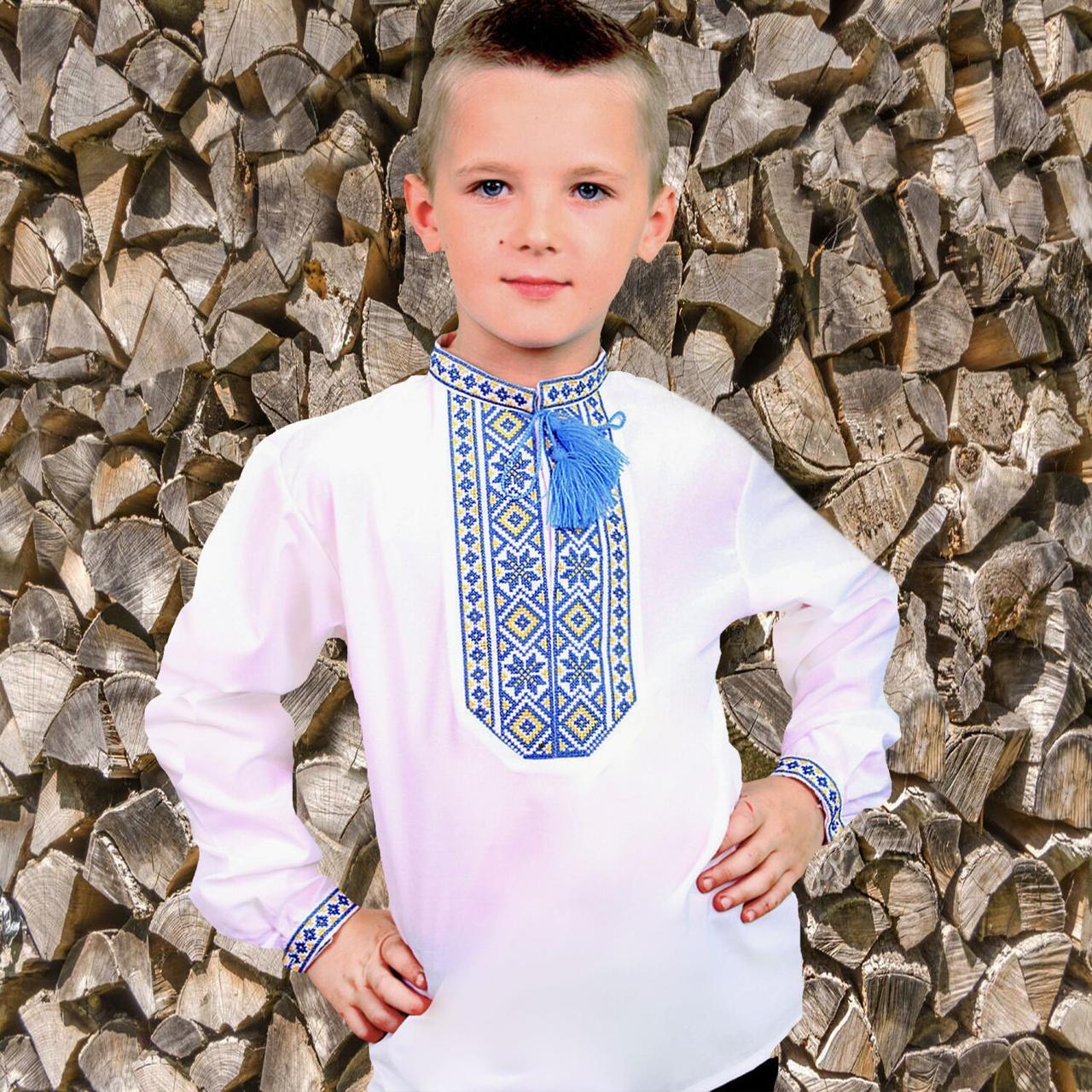 """Подростковая вышиванка для мальчика """"Козачок"""" с Желто-синей вышивкой, 140 (рост)"""