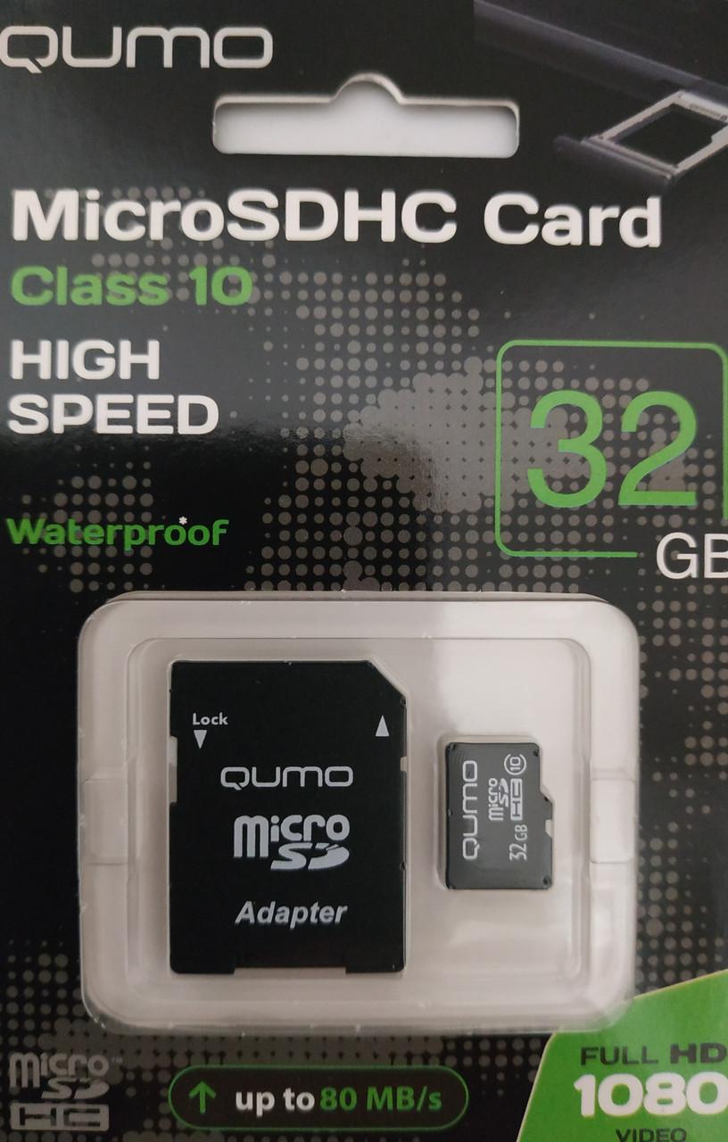 Карта памяти микро SDHC Qumo 32 гб класс 10 c адаптером