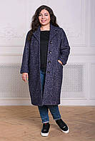 Прямое пальто из букле МИРИАМ серо-голубое 1102376680