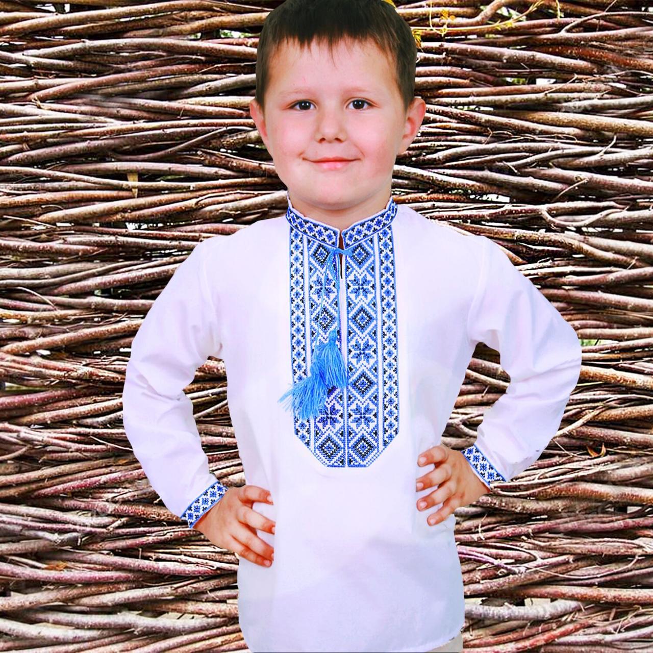 """Детская вышиванка для мальчика """"Козачок"""" с Синей вышивкой, 86 (рост)"""
