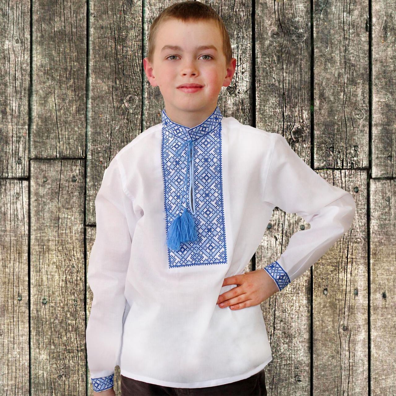 """Вышиванка детская для мальчика """"Даниил"""" с Синей вышивкой, 122 (рост)"""