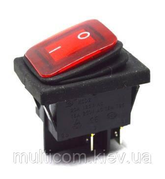 11-02-204. Влагозащищенный IP65 переключатель, широкий, 4pin, ON-OFF, 20А-220V, красный