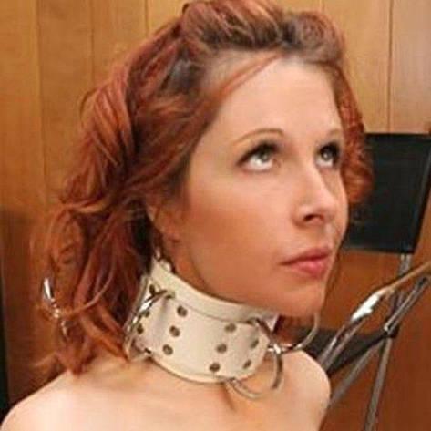 Белый кожаный ошейник с металлическими паетками, фото 2