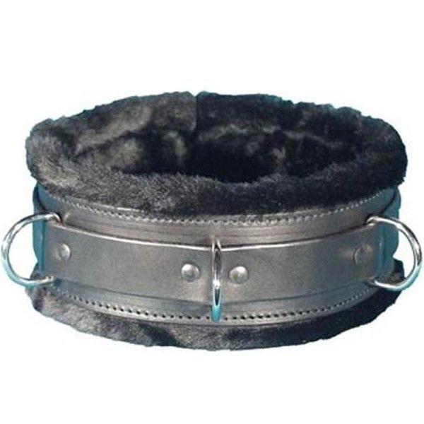 Черный ошейник с меховой подкладкой