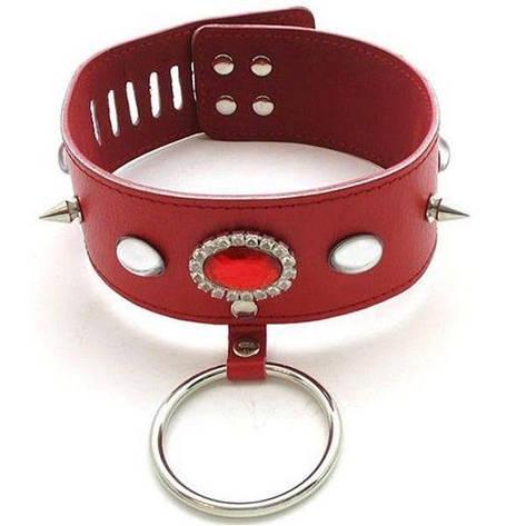 Современный красный кожаный ошейник, фото 2