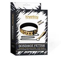 Золотичный ошейник Bondage Fetish Metallic Gold Pup Collar With Leash