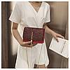 Блестящая красная сумочка с косточкой через плечо, фото 3