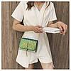Блестящая зеленая сумочка с косточкой через плечо, фото 4