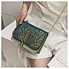 Блестящая зеленая сумочка с косточкой через плечо, фото 8