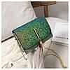 Блестящая зеленая сумочка с косточкой через плечо, фото 9