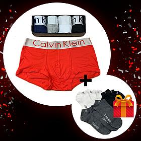 Набор трусов Calvin Klein 5шт+подарок носки 3 шт.