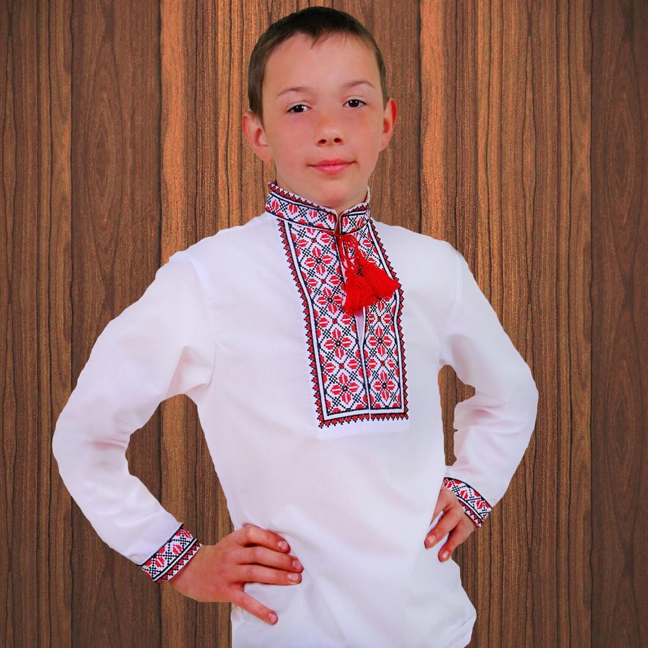 """Вышиванка детская для мальчика """"Руслан"""" с Красной вышивкой, 104 (рост)"""