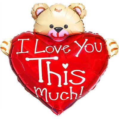 Фольгированный шар ФМ сердце с мишкой ily