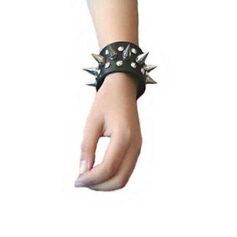 РАСПРОДАЖА! Кожаные шипованные наручники, пара 2 шт, фото 2
