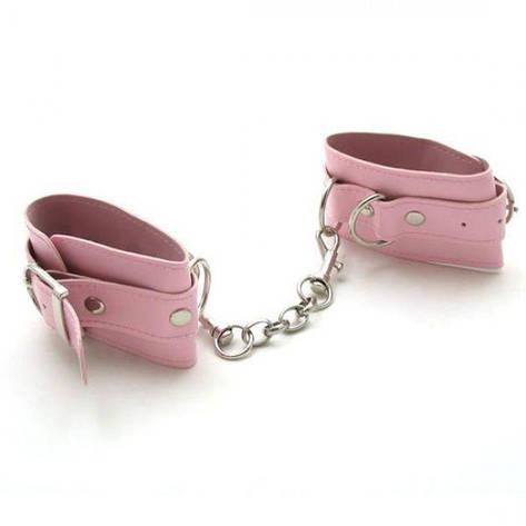 Розовые наручники из кожи, фото 2