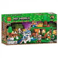 """Конструктор Bela 11138 (Аналог Lego Minecraft) """"Битва за сокровища""""327 деталей"""