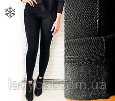 Женские теплые лосины с высокой посадкой из джинс-коттон на флисе черного цвета