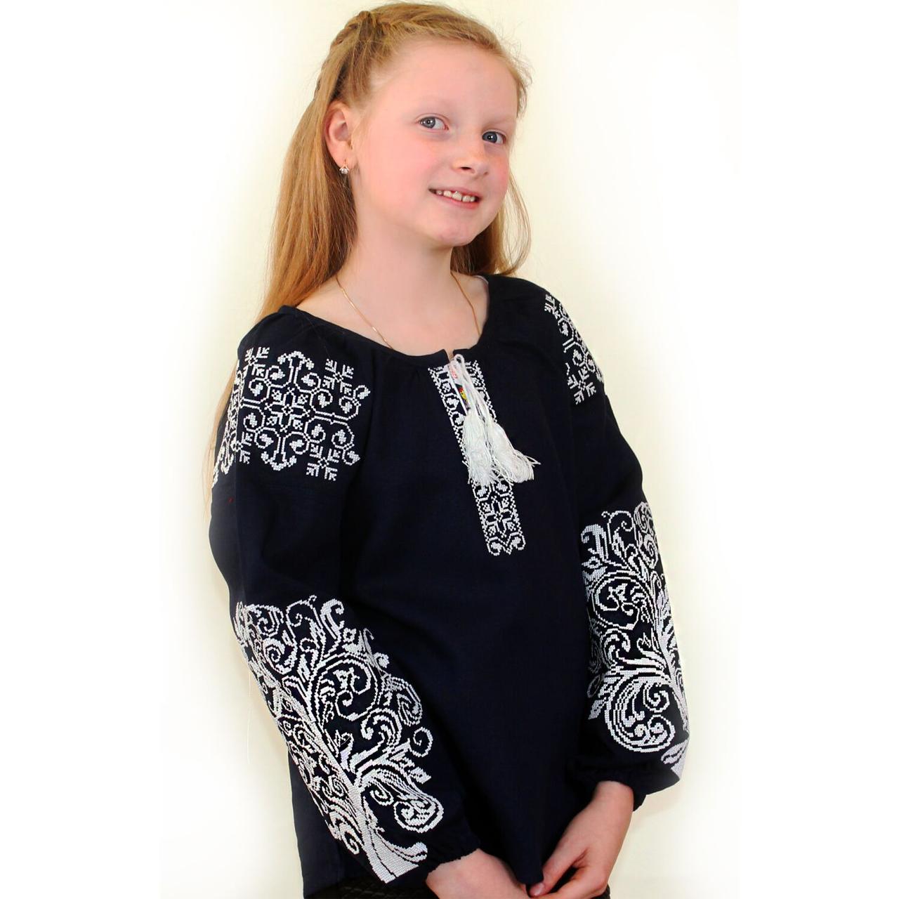 """Детская вышитая блуза """"Ольга"""" на тёмно-синем льне с белой вышивкой, 122 (рост)"""