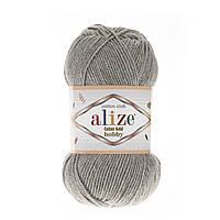 Летняя пряжа ( 55%- хлопок, 45%- акрил; 50г/ 165м) Alize Cotton Gold Hobby 21(серый меланж)